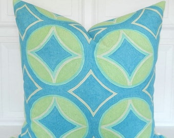 Turquoise Pillow Cover - Designer - Celerie Kemble -  Lime Green, Blue  Throw Pillow - Ocean Colors - Sofa Accent Pillow - Square - Lumbar