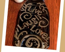 Beer Bottle Spoon Rest, Slumped and Etched to bring flair to your kitchen!