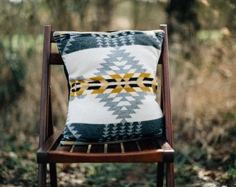 Geometric Pillow Cover, Pillow Cover in Pendleton Wool, native Pillow, bohemian pillow cover, gray pillow, cream pillow Southwestern pillow