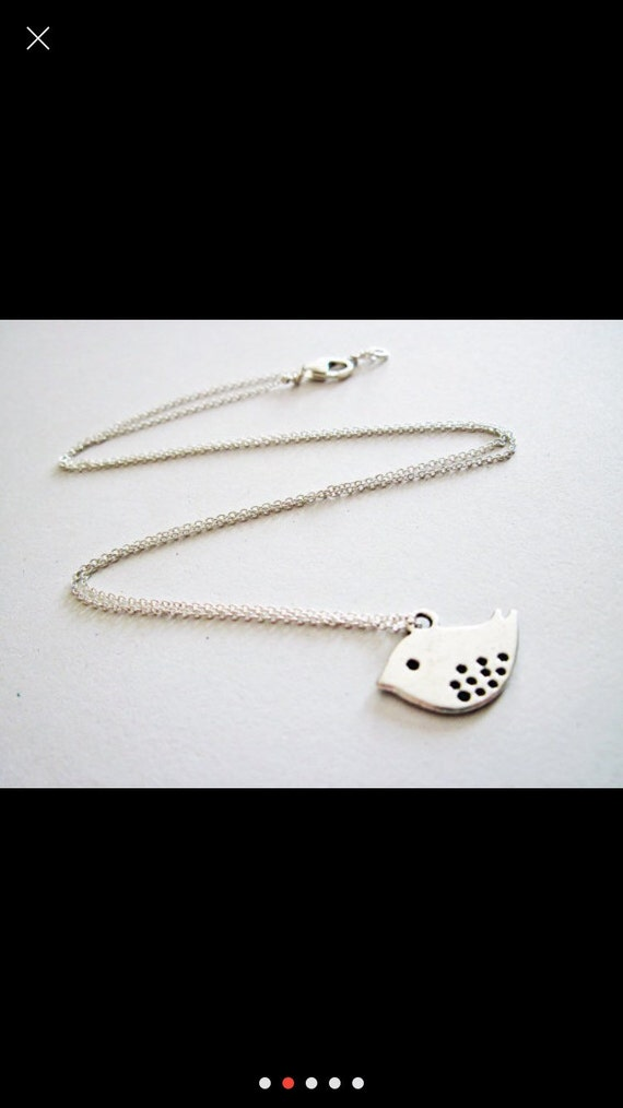 Dove pendant silver charm necklace on chain