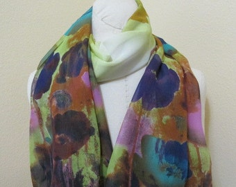 Painted Silk Scarf, Tulips, love gift