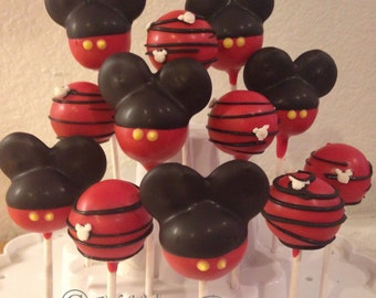 12 MICKEY MOUSE theme cake pops, Disney inspired