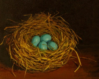 Robins egg nest original oil painting four blue eggs