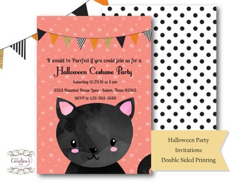 Halloween Birthday Party Invitations- Black Cat- Invitations- Double Sided Printing