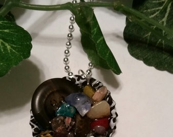 Bottle cap necklace,gemstones,semi precious necklace,jewelry