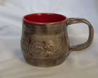 Mug in Charcoal (Gray) and Hot Tamale (Bright Red) With Etched Design Detail