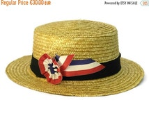 10% Off French Straw Boater Hat. Vintage Straw Hat with Bleu, Blanc, Rouge Rosette. Bastille Day Party Decor. French Hat.
