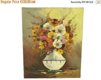 ON SALE Floral Still Life Painting. Flowers in Vase Oil Painting. Vintage French Art.