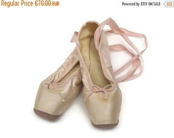 ON SALE French Ballet Pointes. Pink Silk Ballet Flats. Ballerina Shoes. Ballet Dancer Slippers. Romantic French Decor.