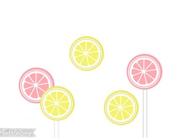 Lemonade Birthday Party Cupcake Toppers - Printable Pink Yellow