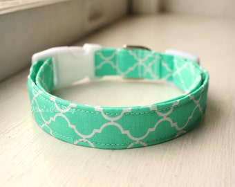Seafoam Dog Collar, Mint Dog Collar, Designer Dog Accessories, Pet Accessories, Adjustable Collar, Fabric Dog Collar, Dog Collars for Girls
