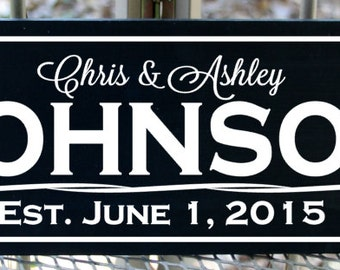 """Personalized Family name sign with established date wood sign - 7.25"""" x 22"""""""