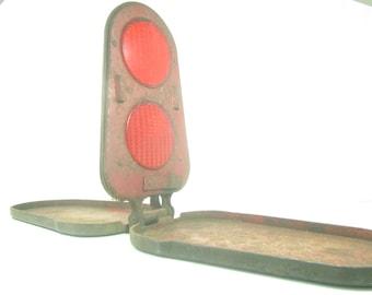 Vintage Roadside Reflector, Emergency Reflector, Industrial Decor, Red Reflector, Rust, Vintage Reflector