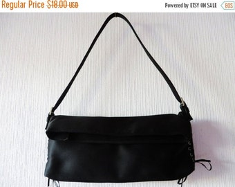 SALE Black Clutch Purse Black Satin Handbag Lace up Side Handbag Black Satin Clutch Evening Handbag Little Black Purse