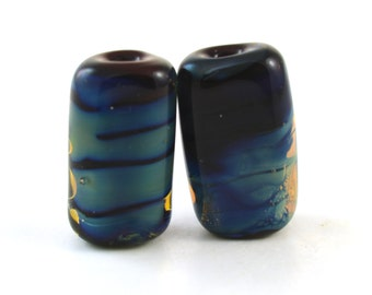 Tiny Tab Pair Handmade Glass Lampwork Bead
