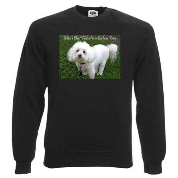 Bichon Frise Sweatshirt. Fleecy Lined Ribbed Cuffs and Neck, Choice of Sizes and colours