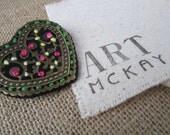 Unique Heart Pin - Felt and Filigree - Handmade Christmas Gift - Lovely Winter Coat Lapel Pin