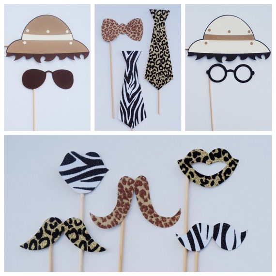 Safari photo booth props animal print party decor jungle for Animal print decoration party