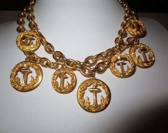 Vintage 80's Costume Jewelry Choker Necklace , Gold Finished , Ship Anchor Medallions