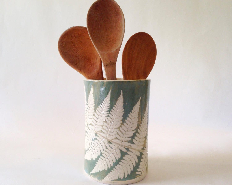 Large ceramic utensil holder fern green stoneware pottery - Unique kitchen utensil holder ...