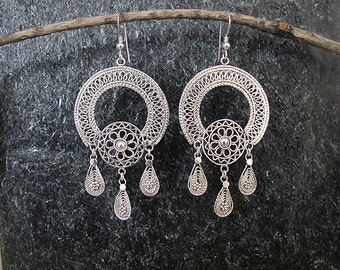 Silver filigree earrings,Silver Earrings , Israel jewelry,Yemenite jewelry,Ethnic earrings,Statement earrings