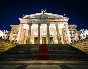 The Konzerthaus Berlin at night, at Gendarmenmarkt, in Berlin, Germany. | Photo Print, Stretched Canvas, or Metal Print.