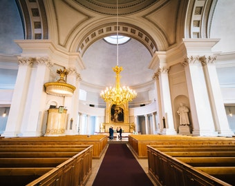 The interior of the Helsinki Cathedral, in Helsinki, Finland. | Photo Print, Stretched Canvas, or Metal Print.