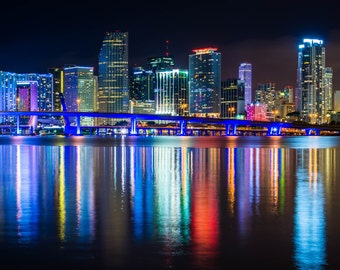The Miami Skyline at night, seen from Watson Island, Miami, Florida. | Photo Print, Stretched Canvas, or Metal Print.