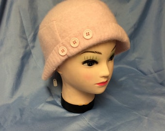 Soft pink felted lambswool hat
