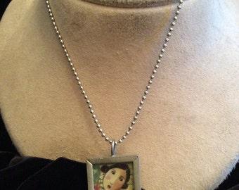 Vintage Long Woman/Wish Glass Box Pendant Necklace