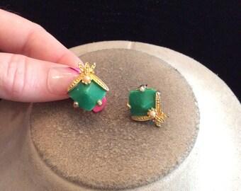 Vintage Green Glass & Faux Pearl Pierced Earrings