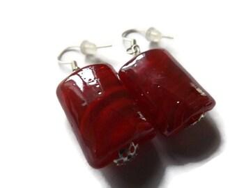 Red Bead Earrings