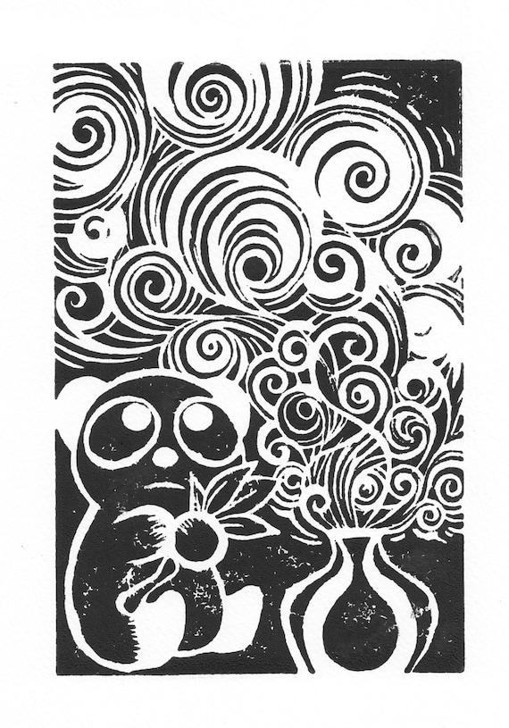 Panda Prophecy, Original Linocut Hand-Pulled Print, Small Print