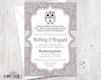 Purple and Gray Baby Shower Invitation, Owl Baby Shower Invites, Purple and Gray Baby girl, Monogram Baby Shower Invitation
