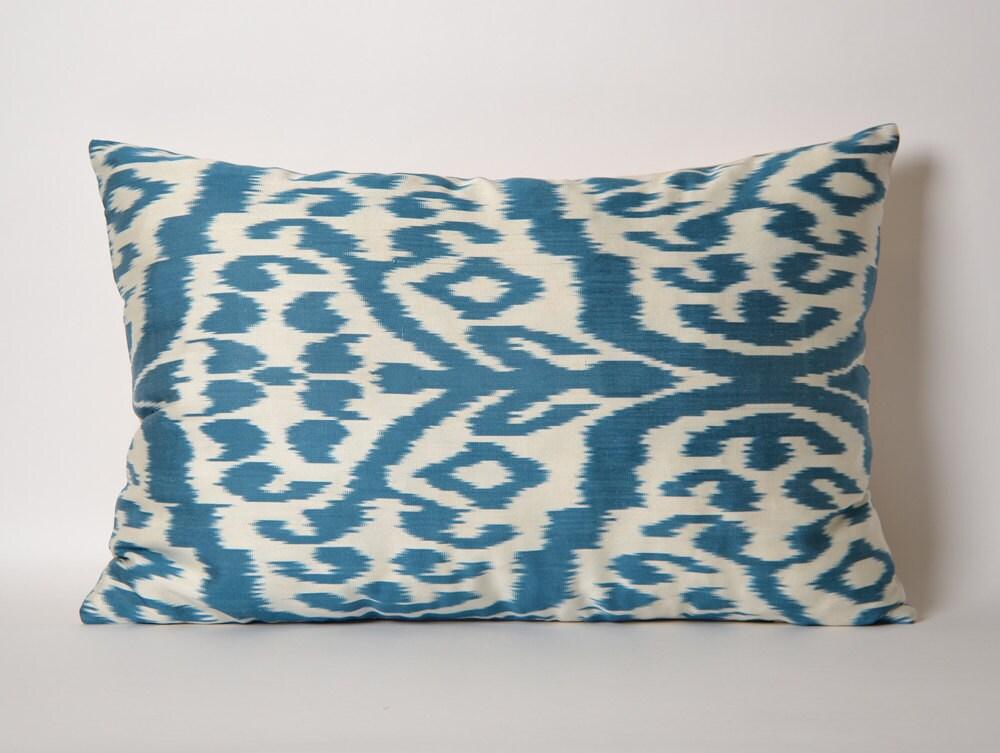 Blue Ikat Pillow Cover Ikat Throw Pillow White Blue Pillows