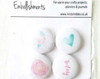 Flower Badge Flair / Embellishments / Tin Pins