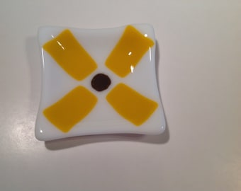 Fused Glass Yellow Flower Dish