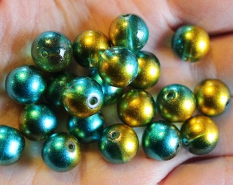 20 glass beads, 10 mm, round and smooth, transparent baking painted, hole 1 mm, yellow and aqua