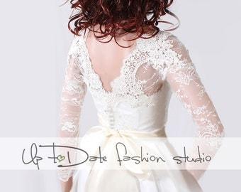 Plus Size Wedding lace bolero solstiss Lace/ wedding jacket/ shrug lace top deep-v in back