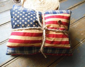 Americana Flag Tuck- Patriotic Decor - Flag Decore - Americana Tuck - Americana  Decor- Flag Pillow -  Red, White & Blue, Patriotic - USA