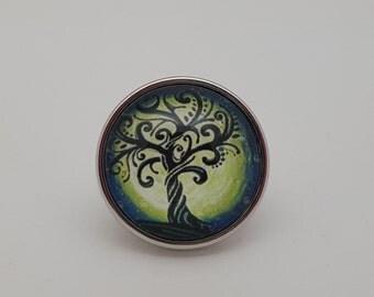 Glass Popper Snap Twisty Tree And Big Moon Snap Jewelry
