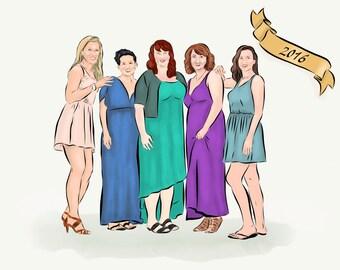 Bridesmaids Best Friends Portrait Digital File - Up to 5 Figures