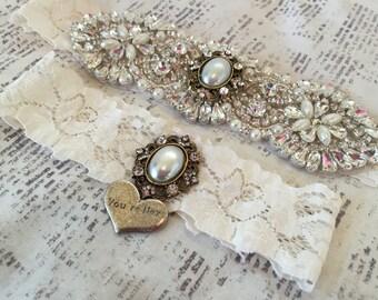 Crystal Wedding Garter, Vintage Wedding Garter Set, Vintage Garters, Lace Garters, Wedding Garter Ivory, Ivory Garter Set, Lace Garter Set