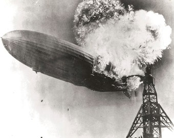 1937 photograph of the burning LZ 129 Hindenburg explosion blimp
