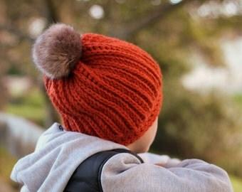 "Crochet Pattern, cool knit look crochet ""Angelo Boys Beanie"" Chunky Beanie, Bulky Beanie PATTERN ONLY"