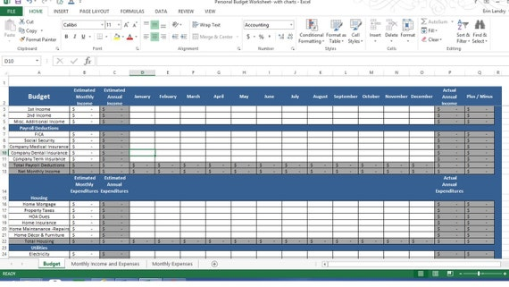 budget chart template personal expense tracker spreadsheet from