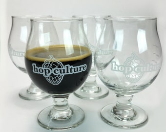 """Craft Beer glass- Set of 4 hop culture """"the share"""" snifters- 13 oz"""