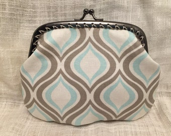 Large Blue and Grey Swirls Coin Purse