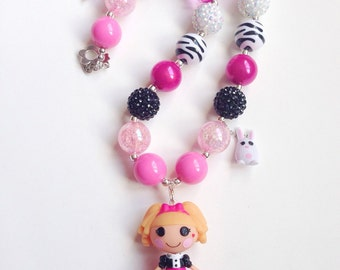 Chunky bead necklace with Lalaloopsy pendant - Misty Mysterious