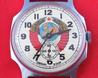 Antique USSR CCCP herb wrist watch POBEDA Old stocks #v505